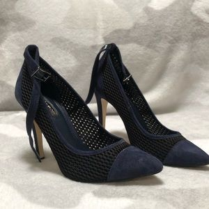 Blue Suede Stiletto Pumps by BCBG
